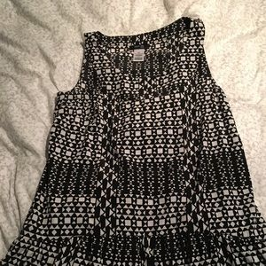 Black and White long fancy tank top